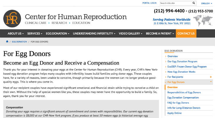Center for Human Reproduction screenshot
