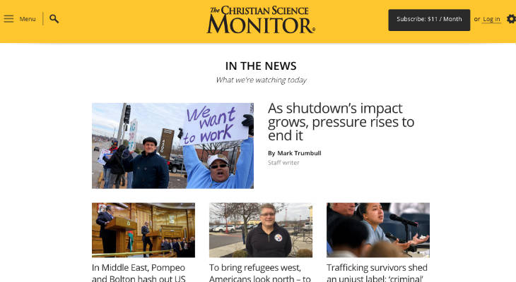 Christian Science Monitor screenshot