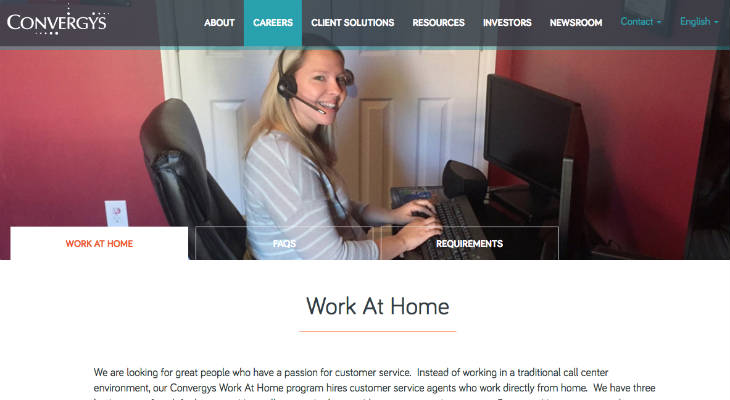 Convergys Work From Home screenshot