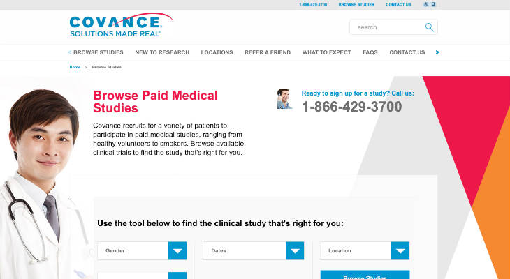 Covance Clinical Trials screenshot