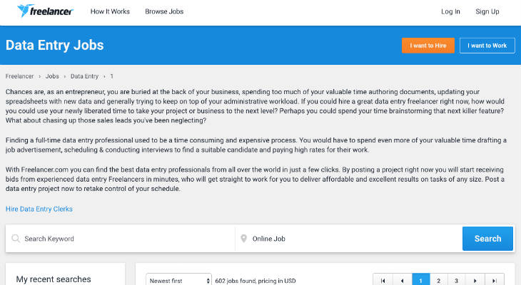 Freelancer Data Entry Jobs screenshot