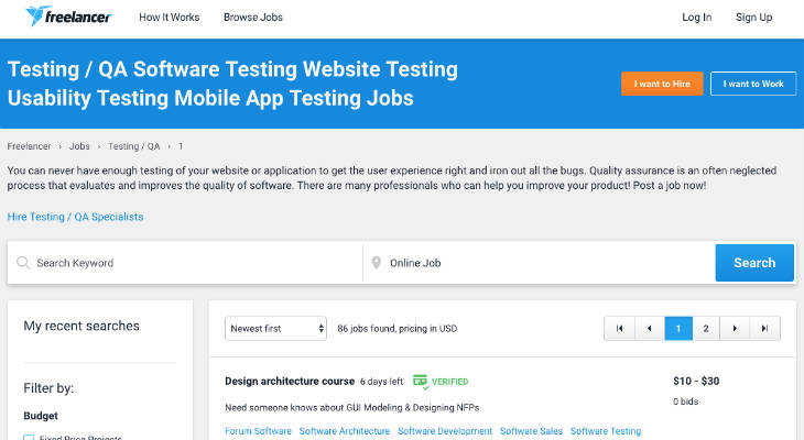 Freelancer Testing Jobs screenshot