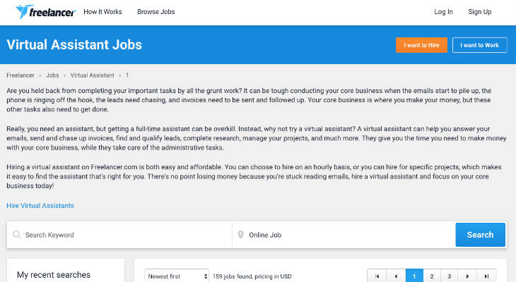 Freelancer Virtual Assistant Jobs screenshot