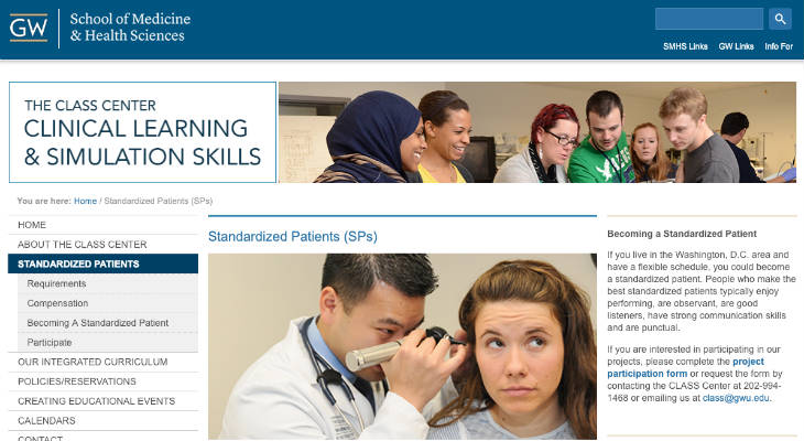 George Washington University Standardized Patient screenshot