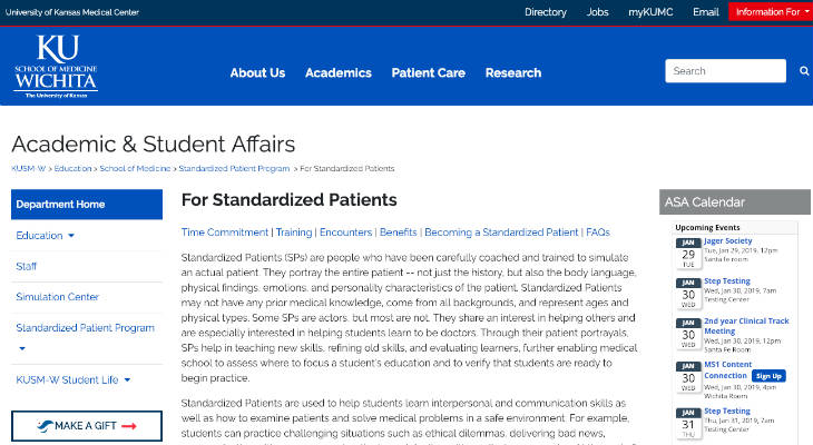 KU School of Medicine Wichita Standardized Patient screenshot