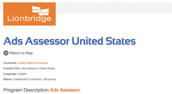 Lionbridge Ads Assessor screenshot