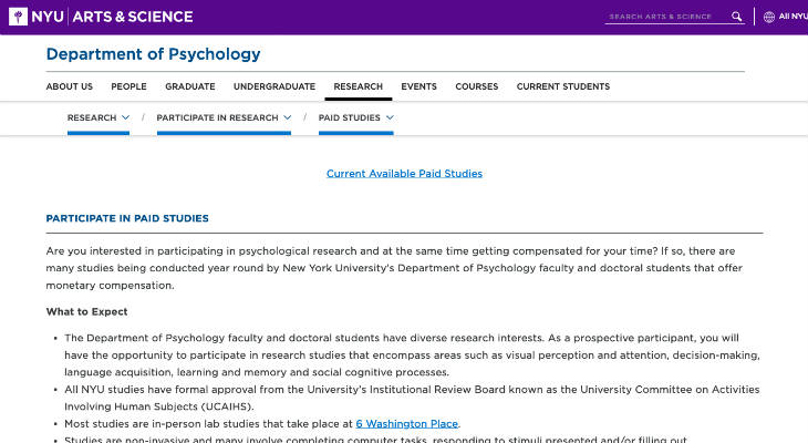 NYU Paid Research Studies screenshot