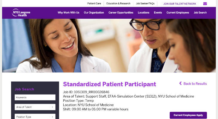 NYU School of Medicine Standardized Patient screenshot