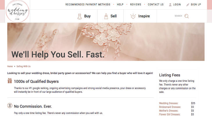 PreOwnedWeddingDresses.com screenshot