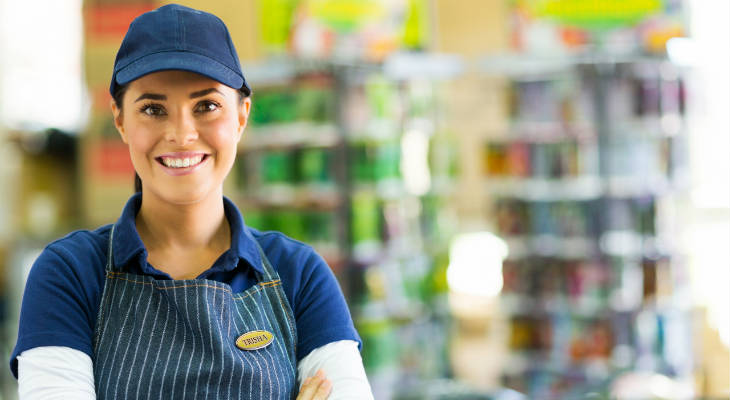 Photo of store assistant smiling