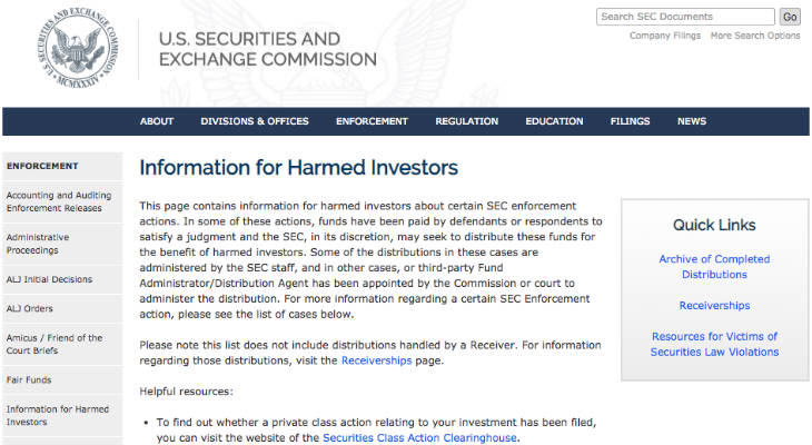 SEC Enforcement Actions screenshot