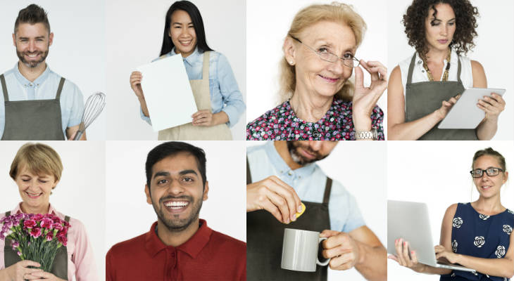Photo of a collage of men and women in various jobs, smiling at the camera