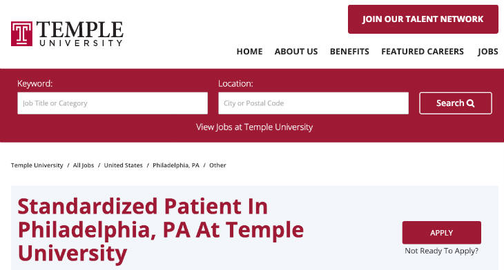 Temple University Standardized Patient screenshot