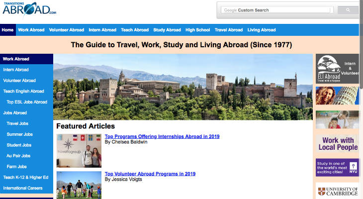 Transitions Abroad screenshot