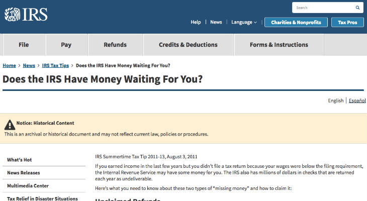 Unclaimed Tax Refunds screenshot