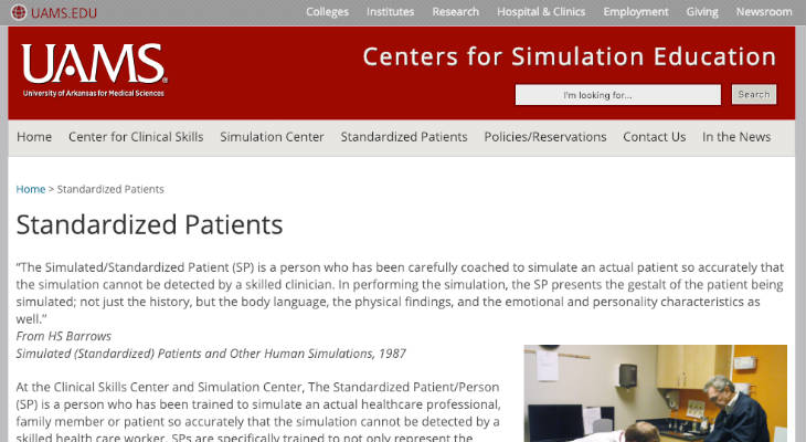 University of Arkansas for Medical Sciences Standardized Patient screenshot