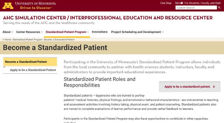 University of Minnesota Standardized Patient screenshot