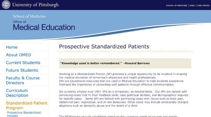 University of Pittsburgh Standardized Patient screenshot