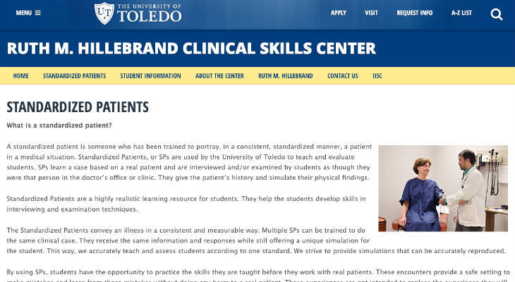 University of Toledo Standardized Patient screenshot