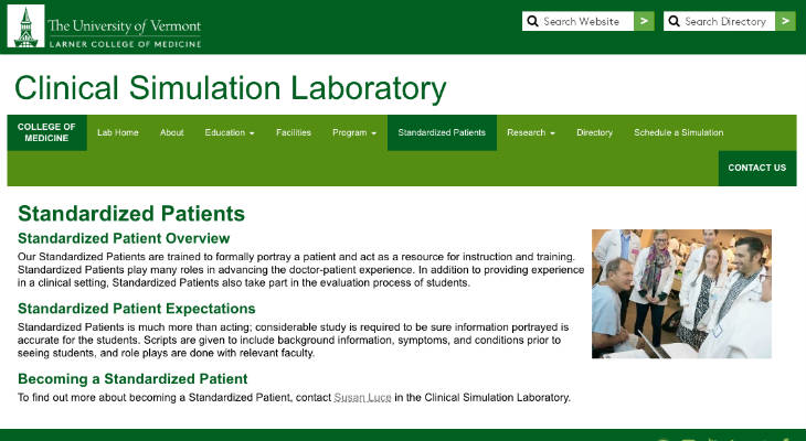 University of Vermont Larner College of Medicine Standardized Patient screenshot