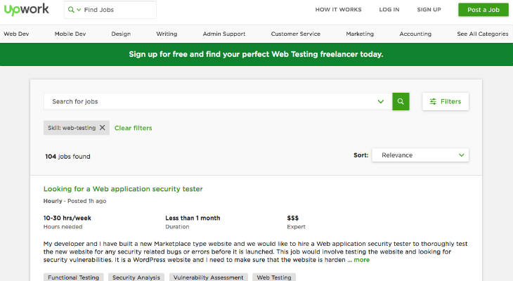 Upwork Testing Jobs screenshot