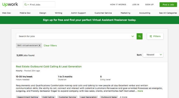 Upwork Virtual Assistant Jobs screenshot