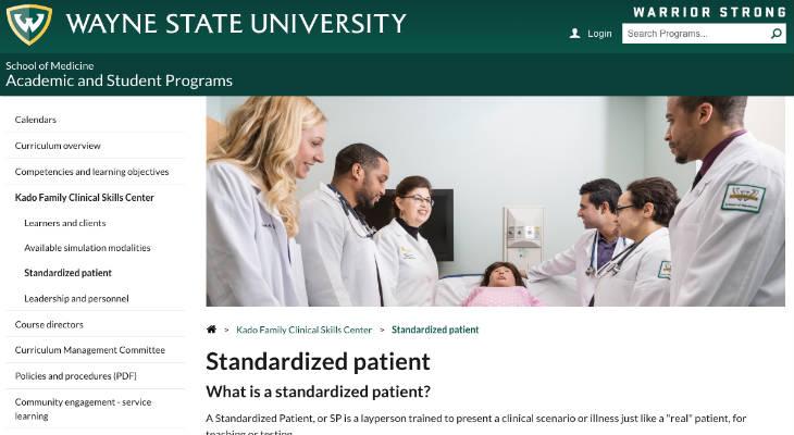 WAYNE STATE UNIVERSITY SCHOOL OF MEDICINE STANDARDIZED