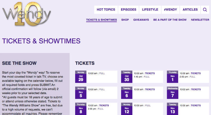 Wendy Williams Tickets screenshot
